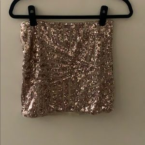 Charlotte Russe Sparkly Pink/Champagne Skirt